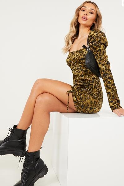 Khaki Animal Puff Sleeve Bodycon Dress